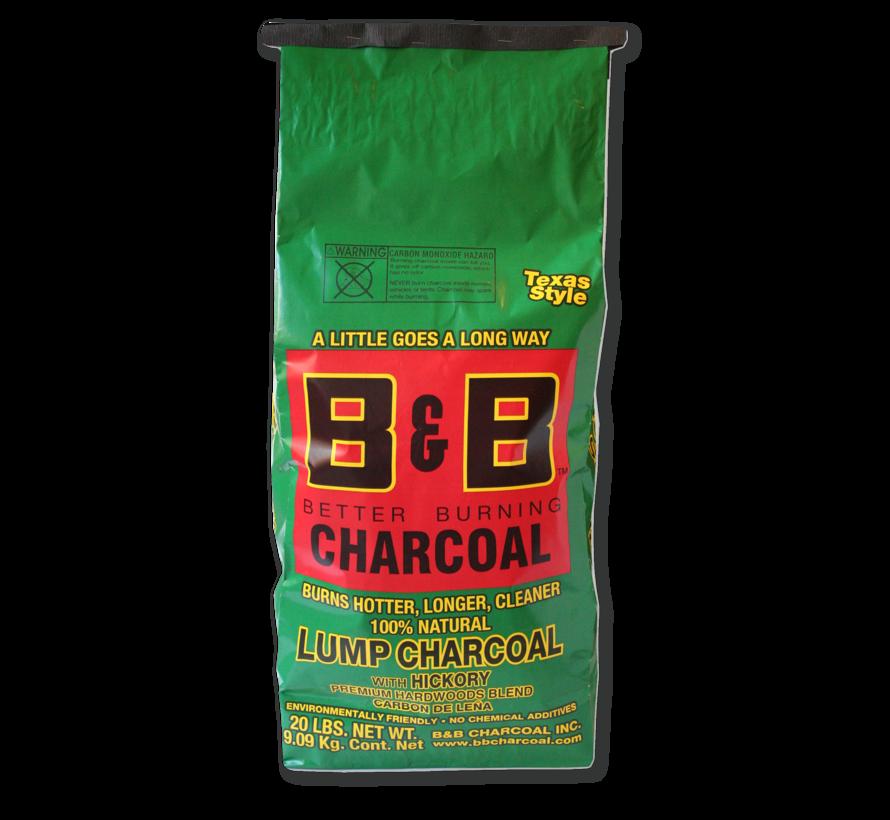 B&B Hickory Lump Charcoal 2 x 9 kg Deal
