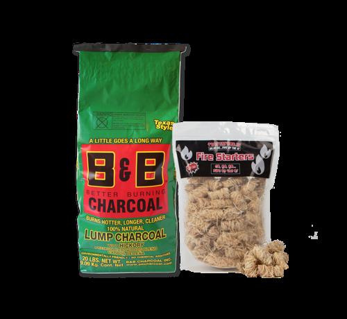 B&B B&B Hickory Lump Charcoal / Wokkels Deal 9 kg