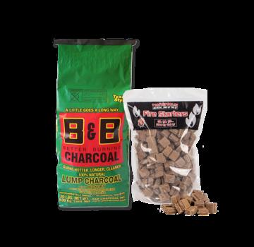 B&B B&B Hickory Lump Charcoal / Aanmaakblokjes Deal 9 kg