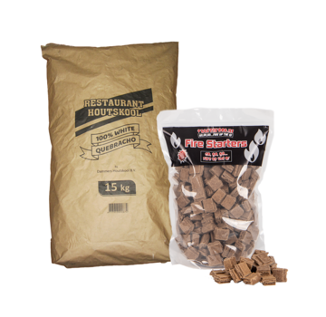 Dammers Dammers Restaurant Charcoal 100% White Quebracho / Firelighters Deal 15 kg