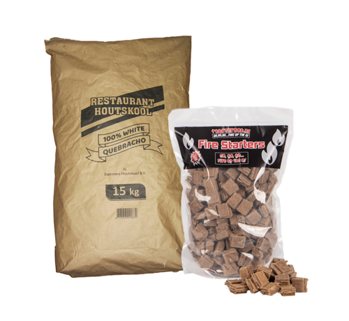Dammers Dammers Restaurant Houtskool 100% White Quebracho / Aanmaakblokjes Deal 15 kg