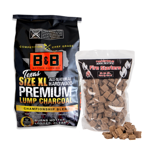 B&B B&B XL Premium Lump Charcoal / Aanmaakblokjes Deal 10 kg