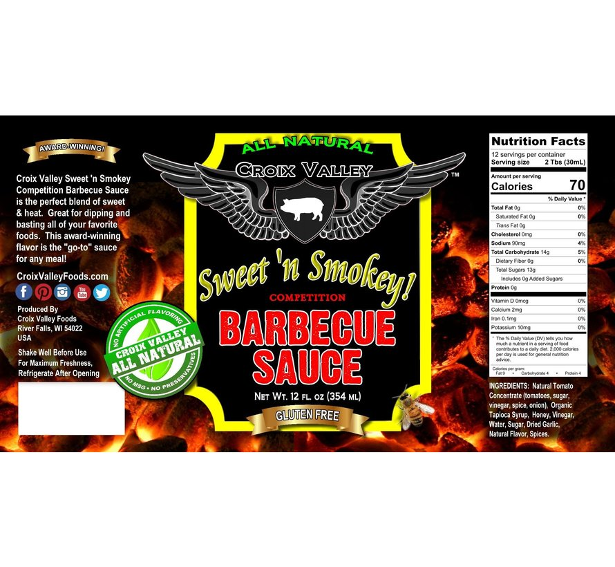 Croix Valley Sweet 'n Smokey Competition Barbecue Sauce 12 oz