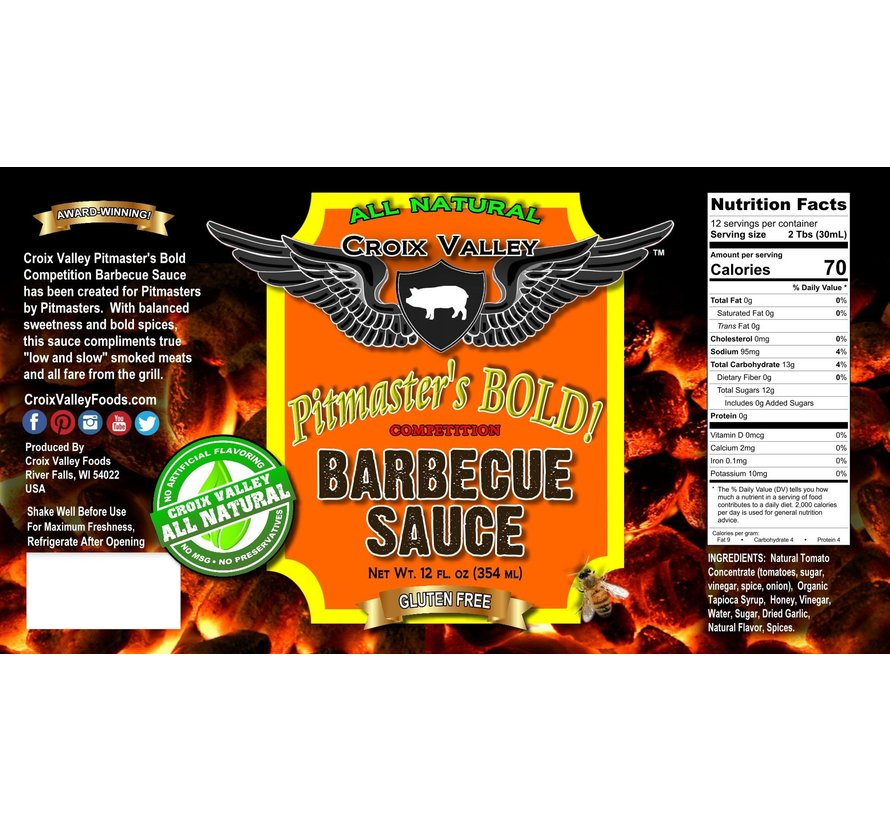 Croix Valley Pitmaster's Bold Competition Barbecue Sauce 12 oz