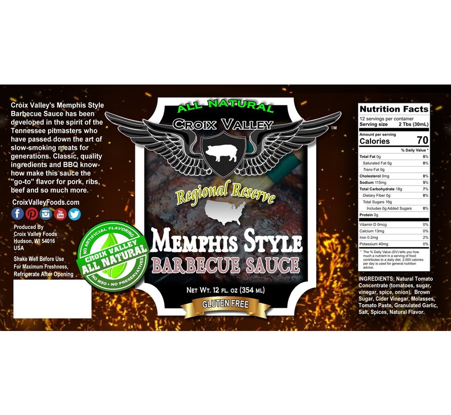 Croix Valley Memphis Style Barbecue Sauce 12 oz