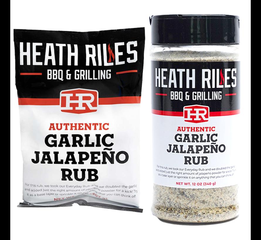 Heath Riles Garlic Jalapeno Rub 16 oz + Refill Bag 2 lb Combo