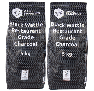 Grill Fanatics Grill Fanatics Restaurant Grade Charcoal Black Wattle 2 x 5 kg Deal