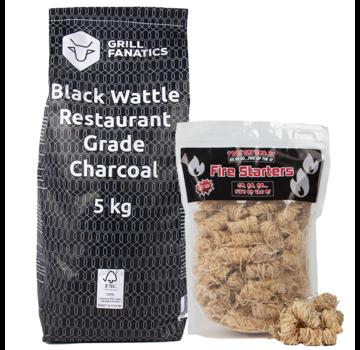 Grill Fanatics Grill Fanatics Restaurant Grade Charcoal Black Wattle / Wokkels Deal 5 kg