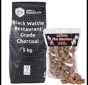 Grill Fanatics Grill Fanatics Restaurant Grade Charcoal Black Wattle / Firestarters Deal 5 kg