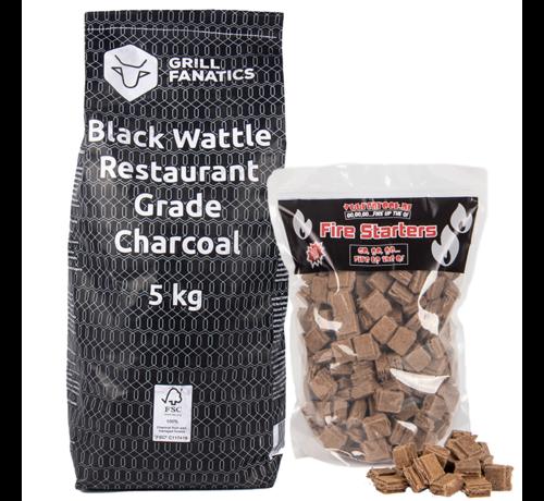 Grill Fanatics Grill Fanatics Restaurant Grade Charcoal Black Wattle / Aanmaakblokjes Deal 5 kg