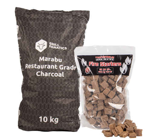Grill Fanatics Grill Fanatics Restaurant Grade Marabu Houtskool / Aanmaakblokjes Deal 10 kg