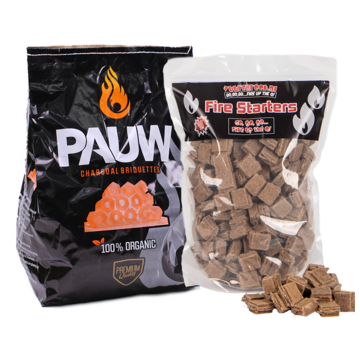 Pauw Pauw Premium Holzkohlebriketts Tubes 2,5 kg / Anzünder Deal