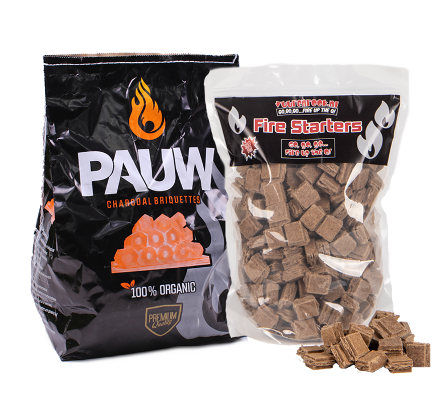 Pauw Premium Houtskool Briketten Tubes 2.5 kg / Aanmaakblokjes Deal