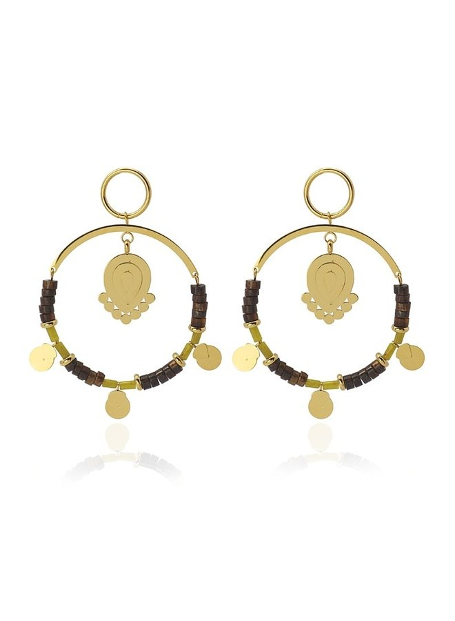 EARING WITH METAL PIECE AND STONES BPE537MR