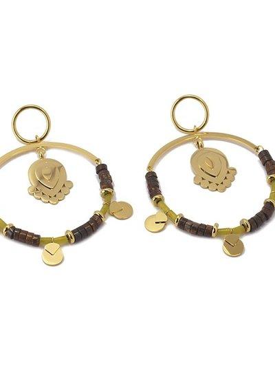 Anartxy juwelen BOUCLE D'OREILLE AVEC PIÈCE MÉTALLIQUE ET PIERRES BPE537MR