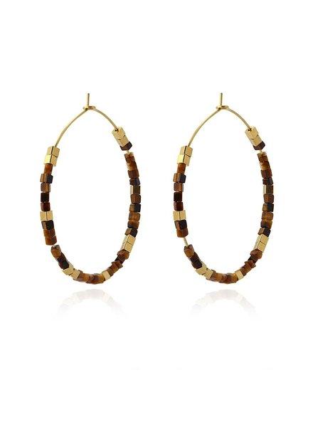 Anartxy juwelen BOUCLE D'OREILLE AVEC PIERRE CARRÉE BLEU ET OR BPE546MR