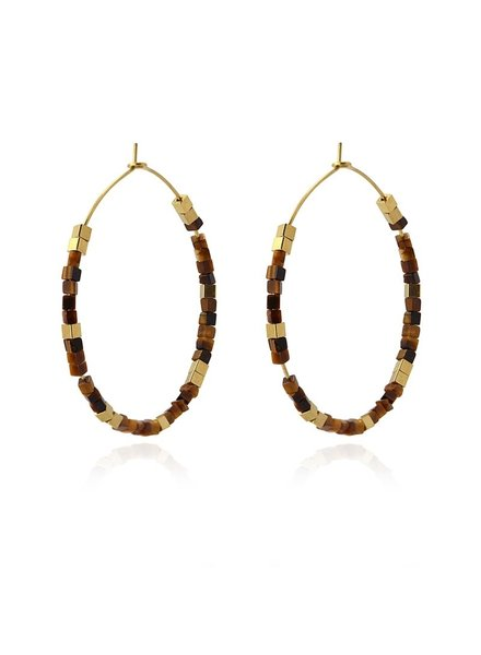 Anartxy juwelen EARING WITH BLUE AND GOLD SQUARE STONE BPE546MR