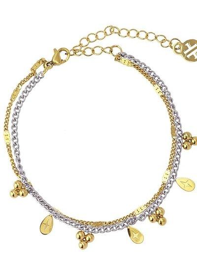 Anartxy juwelen DOUBLE CHAIN BRACELET WITH BALL AND TEAR SHAPED METAL PIECE BPU117
