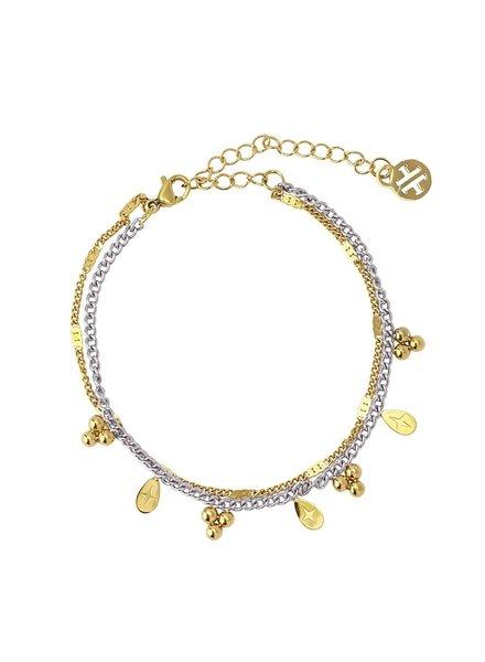 Anartxy juwelen BRACELET DOUBLE CHAÎNE AVEC PIÈCE MÉTALLIQUE EN FORME DE BOULE ET DE LARME BPU117