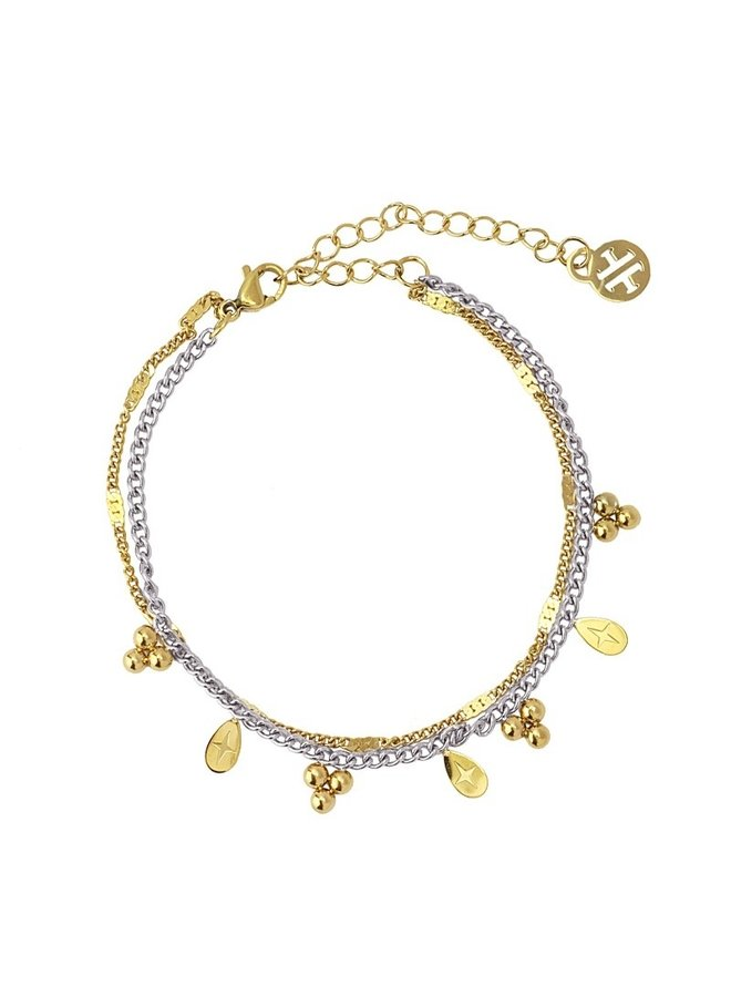 DOUBLE CHAIN BRACELET WITH BALL AND TEAR SHAPED METAL PIECE BPU117