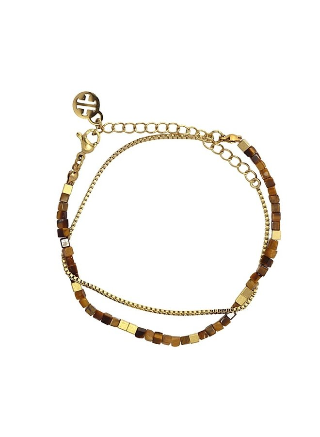 BRACELET WITH BLUE AND GOLD SQUARE STONE BPU122