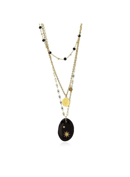 Anartxy juwelen TRIPLE NECKLACE WITH DIFFERENT CHAINS TWO PENDANTS AND A STONE AND FLASHES COA959