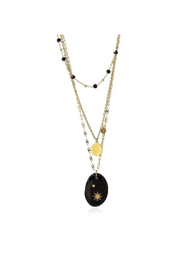 TRIPLE NECKLACE WITH DIFFERENT CHAINS TWO PENDANTS AND A STONE AND FLASHES COA959