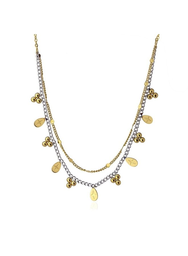 DOUBLE CHAIN NECKLACE WITH BALL AND TEAR SHAPED METAL PIECE COA994