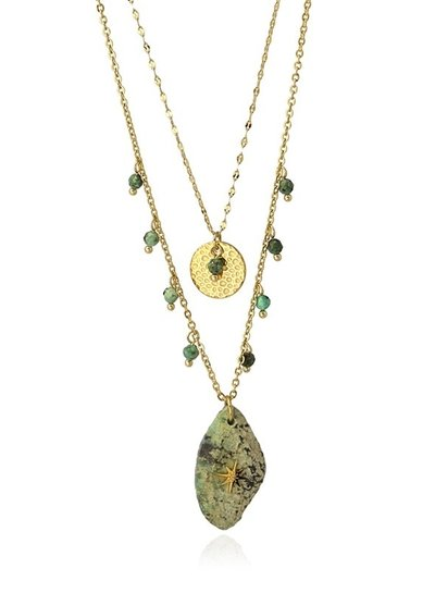 Anartxy juwelen DOUBLE NECKLACE WITH DIFFERENT PENDANTS ONE OF GOLD AND THE OTHER IN STONE COA962