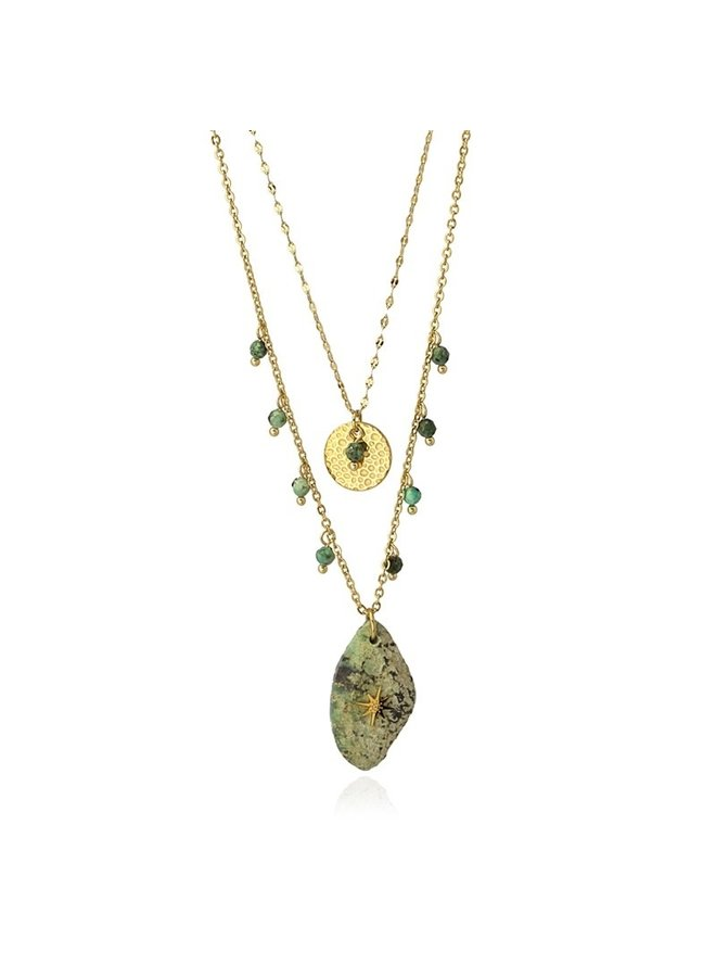 DOUBLE NECKLACE WITH DIFFERENT PENDANTS ONE OF GOLD AND THE OTHER IN STONE COA962