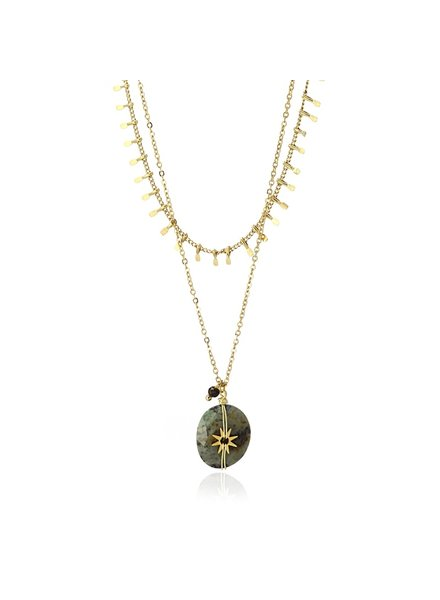 Anartxy juwelen NECKLACE WITH STONE HANGING WITH A SUN IN THE CENTER COA956