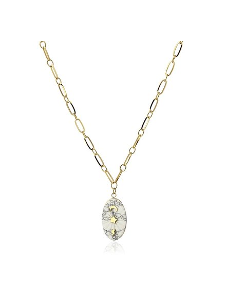 Anartxy juwelen NATURAL STONE NECKLACE  WITH A SPARKLE DETAIL COA888BL