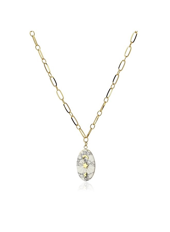 NATURAL STONE NECKLACE  WITH A SPARKLE DETAIL COA888BL