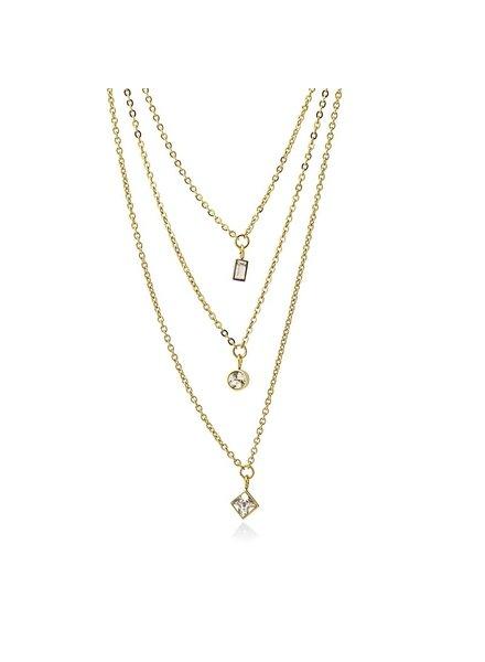 Anartxy juwelen COLLIER TRIPLE AVEC ZIRCONS SUSPENDUS DE DIFFÉRENTES FORMES GÉOMÉTRIQUES COA918BL
