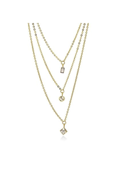 Anartxy juwelen TRIPLE NECKLACE WITH ZIRCONS HANGING IN DIFFERENT GEOMETRIC SHAPES COA918BL