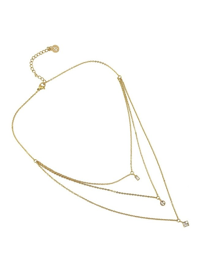 TRIPLE NECKLACE WITH ZIRCONS HANGING IN DIFFERENT GEOMETRIC SHAPES COA918BL
