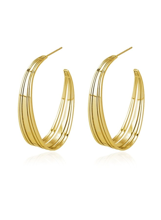 OVAL HOOP EARRING WITH CUTS BPE492