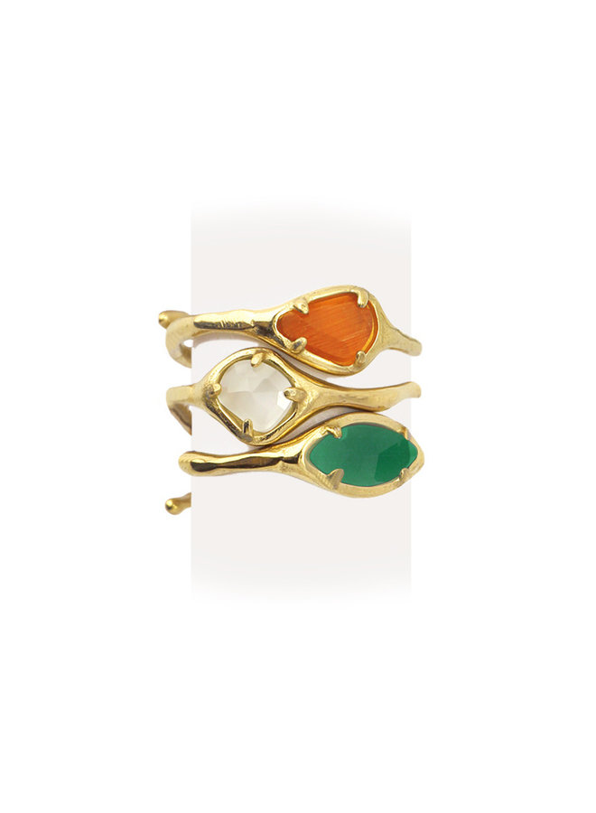 THREE INDIVIDUAL RING WITH DIFFERENT SHAPE AND COLORS OF STONES TO USE TOGETHER OR SEPARATELY