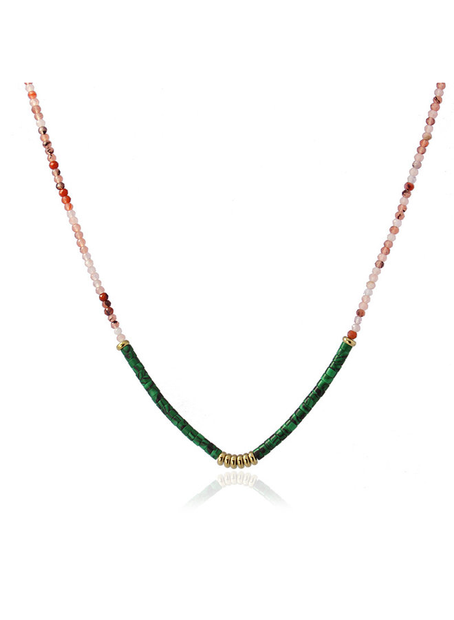 NECKLACE WITH SMALL STONE TWO COLOR COMBINATON