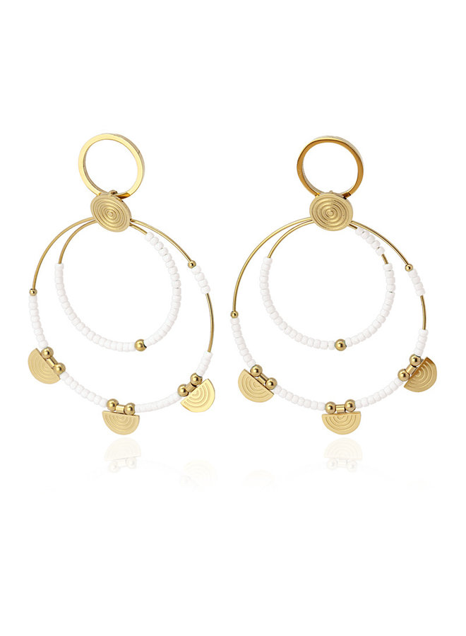 BPE597BL  EARRING MULTICHARM DOUBLE AROS WITH BEADS AND SEMICIRCLE METAL PIECE