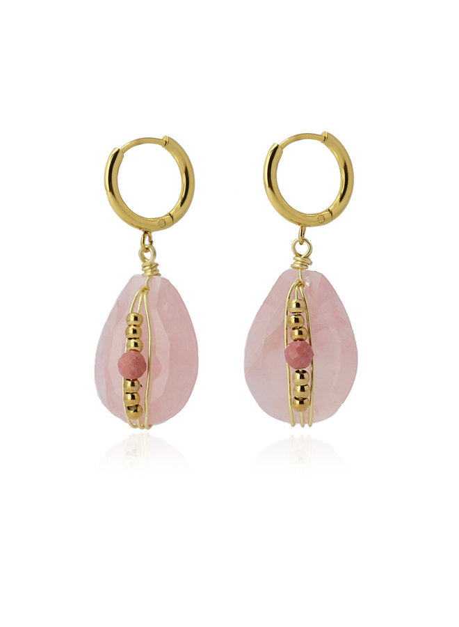 BPE608   EARRING WITH NATURAL STONE AND METAL BEADS