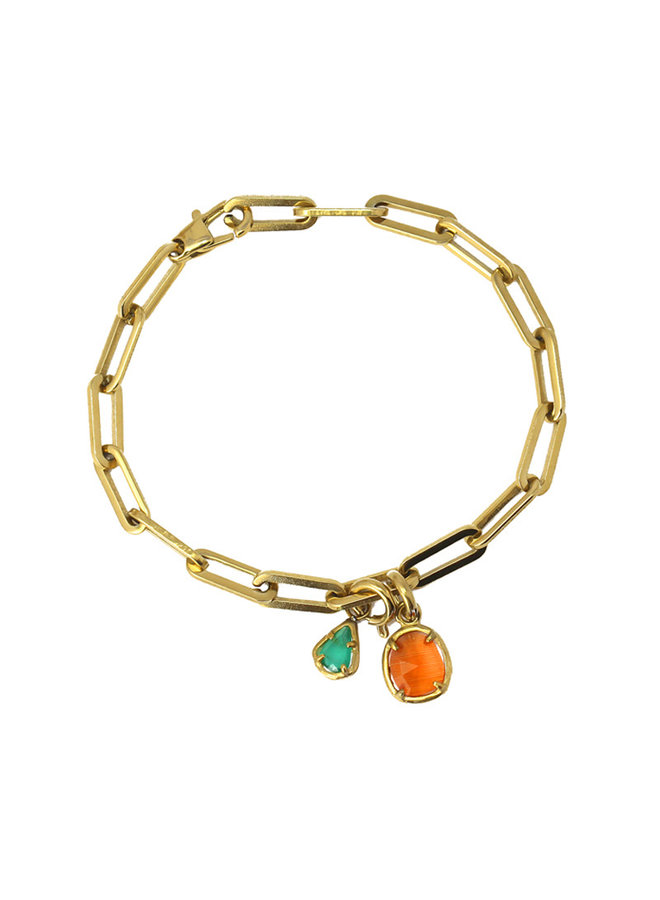 LINK BRACELET WITH A COLORED STONE