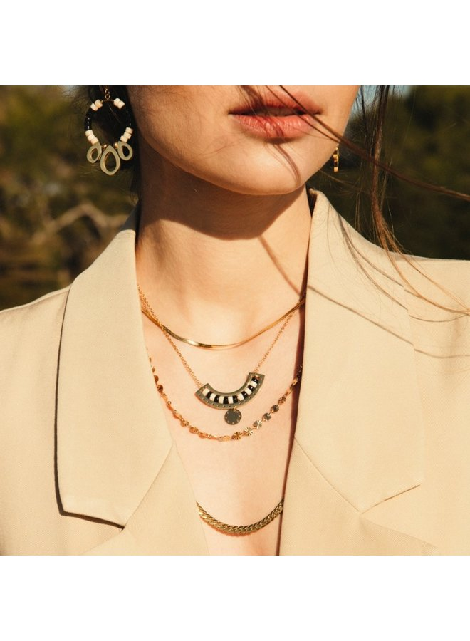 BCO004 NECKLACE WITH 2 COLOR STONE