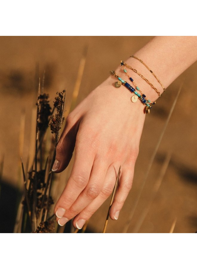 DOUBLE CHAIN COLORED BRACELET BEADS WITH FAN SHAPED METAL PIECE