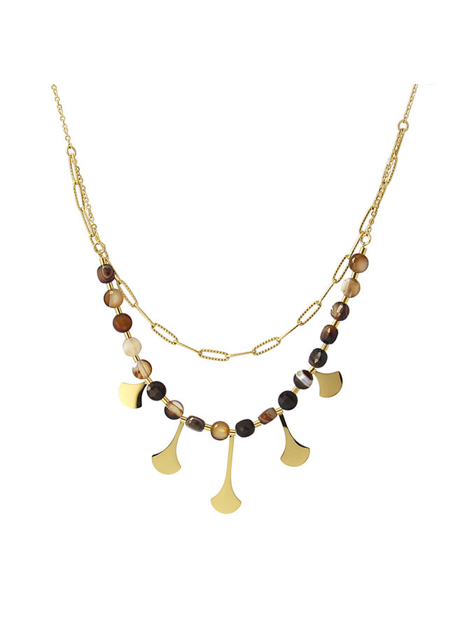 DOUBLE CHAIN NECKLACES WITH COLORED BEADS AND FAN SHAPED DIFFERENTE SIZE METAL PIECES