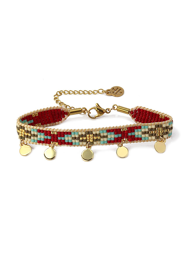BRACELETS WITH FIVE DETAILS IN METAL HANGING BPU066-BE
