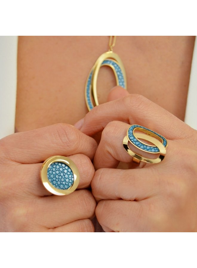 AAN544 RING WITH STINGRAY LEATHER DOBLE CIRCLE