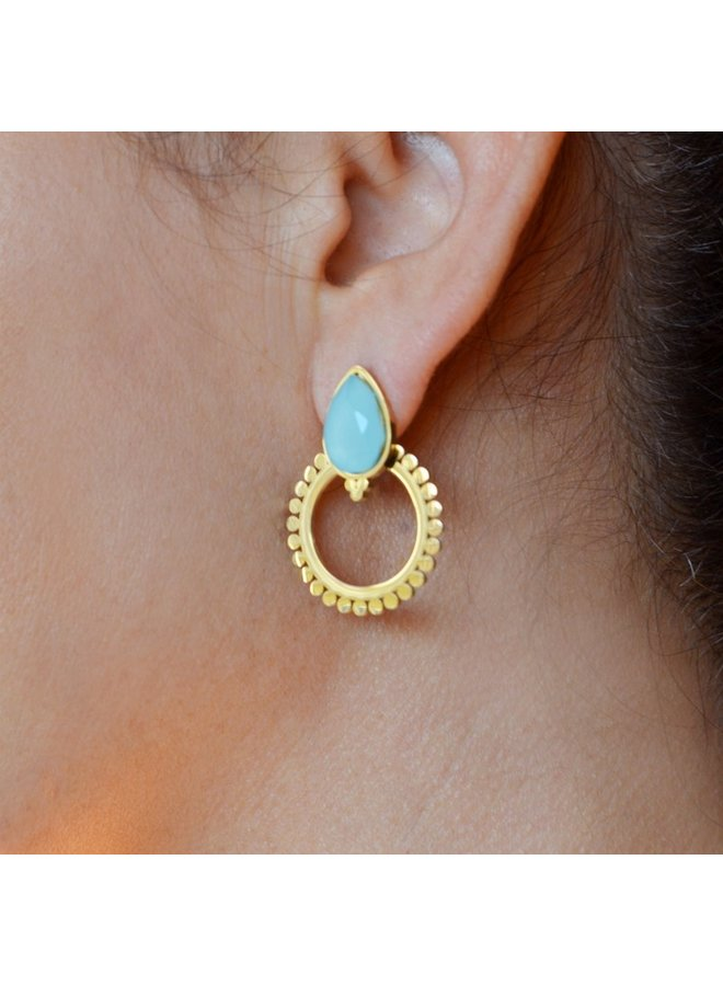 BPE581   EARRING OPAL STONE AROS STYLE SIMPLE