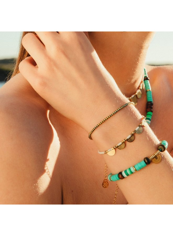 BRACELET MULTICHARM DOUBLE WRAP WITH BEADS AND SEMICIRCLE METAL PIECE