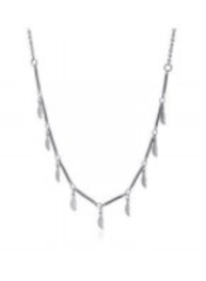 COA 844  NECKLACE WITH BARS AND HANGING TREE LEAVES